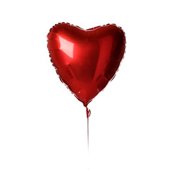 Single big  red heart balloon object for birthday party or valentines day isolated on a white