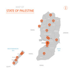 Stylized vector State of Palestine map showing big cities, capital Jerusalem , administrative divisions.