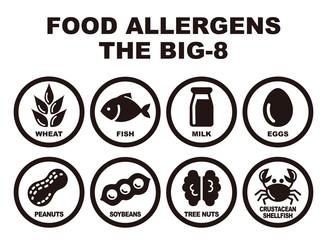 食物アレルギー誘発物質 8品目 アイコンイラスト