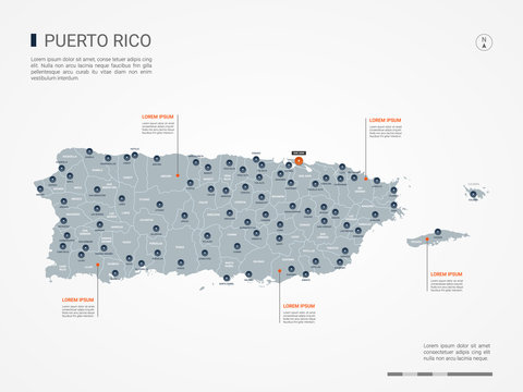 Puerto Rico map with borders, cities, capital and administrative divisions. Infographic vector map. Editable layers clearly labeled.