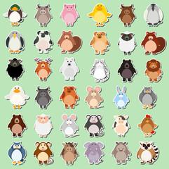 Set of animal cartoon sticker