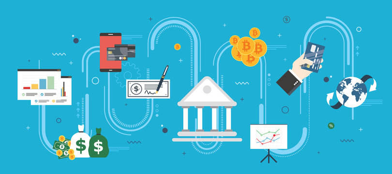 Banking and finance, economy, investment and payment. Online payment, credit card, check, bitcoin or cryptocurrency. Internet banner concept in flat design vector illustration in blue background.