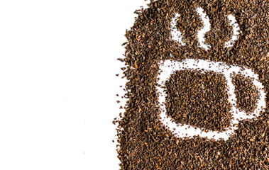 Cup made from dried tea leaves isolated on white background with blank space for text.