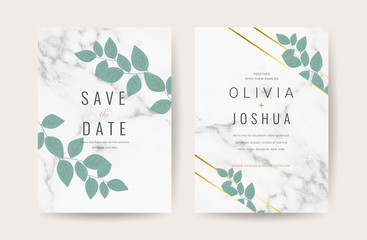 Luxury Marble Wedding Invitation Card Design for spring and summer wedding themes  - Vector