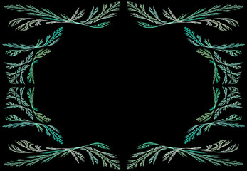 Leafy teal or green fractal frame or border with black copy space.