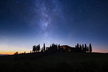 Milky Way Galaxy and Tuscany landscape