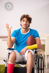 Injured man recovering from his injury