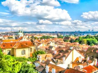 Watercolor urban landscape. Prague, Czech Republic.
