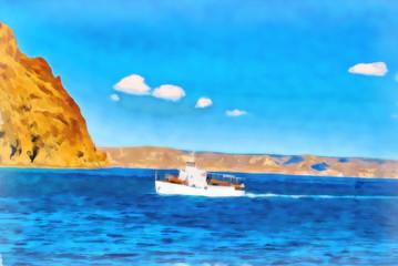 Digital painting. Drawing watercolor. Seascape, sea, ship.