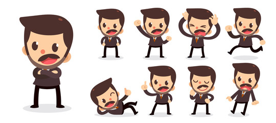 Set of tiny businessman character in actions. A man with a mustache.
