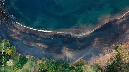 Aerial View Of A Deserted Black Sand Beach In Costa Rica Cinematic