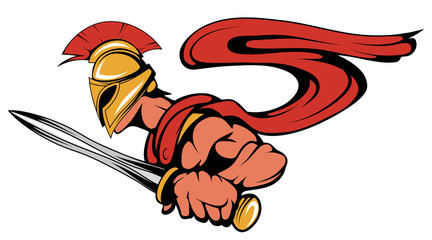 spartan warrior with a sword in his hand, spartan warrior mascot. Vector graphics to design.