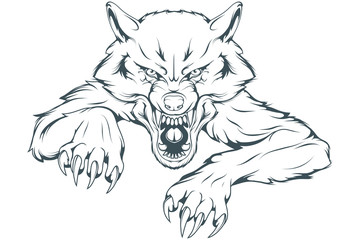 Evil Wolf Mascot. Vector graphics to design.