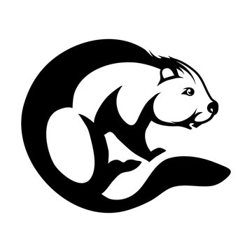 beaver logo design in circle