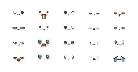 Kawaii smile emoticons. Japanese emoji. set icon