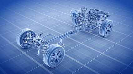 Car Chassis Scheme 3d render