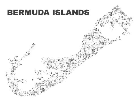 Bermuda Islands map designed with tiny points. Vector abstraction in black color is isolated on a white background. Scattered tiny dots are organized into Bermuda Islands map.