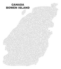 Bowen Island map designed with tiny points. Vector abstraction in black color is isolated on a white background. Random small points are organized into Bowen Island map.