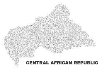 Central African Republic map designed with tiny dots. Vector abstraction in black color is isolated on a white background. Scattered tiny dots are organized into Central African Republic map.
