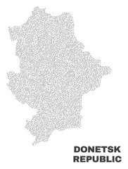 Donetsk Republic map designed with tiny dots. Vector abstraction in black color is isolated on a white background. Scattered tiny dots are organized into Donetsk Republic map.