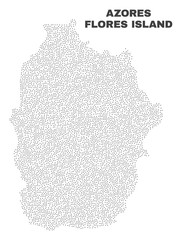 Flores Island of Azores map designed with small points. Vector abstraction in black color is isolated on a white background. Scattered small points are organized into Flores Island of Azores map.