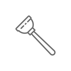 Rubber plunger, plumbing tool line icon.