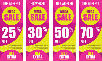 Roll up mega sale banner brochure flyer banner design template, Promo Discount up to 50%. Modern X Banner Vector