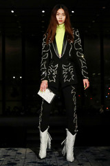 A model presents a creation from the Philipp Plein Fall/Winter 19/20 collection during New York Fashion Week