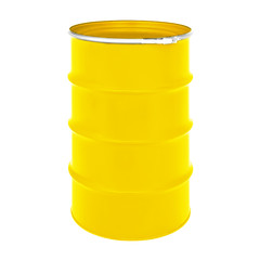 Yellow Metal Oil Barrel Isolated on White Background. Black Gold. Storage Container, Drum