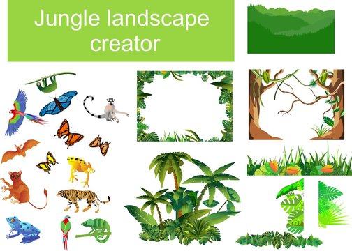 Jungle scene generator mega set, vector