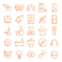 Sleeping icons pack. Isolated sleeping symbols collection. Graphic icons element - Vector