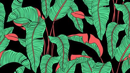 Tropical plants seamless pattern, Bird of paradise on black background