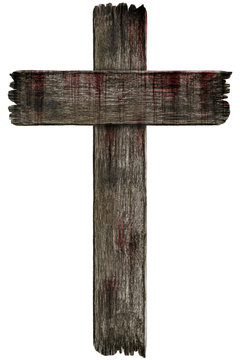 Bloody background scary old grunge wooden cemetery cross isolated on white background, concept of horror and Halloween