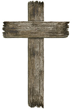 Scary old grunge wooden cemetery cross isolated on white background