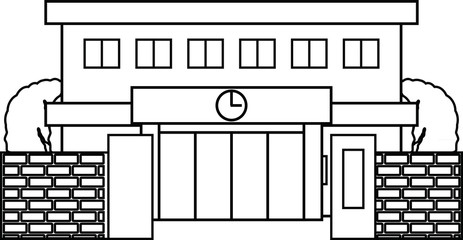 Modern Japanese public school building with gate and trees outline