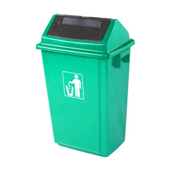 Recycle Bin Isolated on White Background. Plastic Waste Disposal Bin. Green Trash Can. Clipping Path