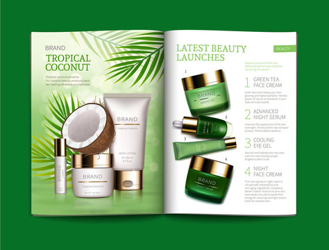 Vector template for glossy cosmetic magazine. Magazine or catalog spread, page with natural cosmetics made from tropical coconut next to palm leaves and page with green night and day skin care complex
