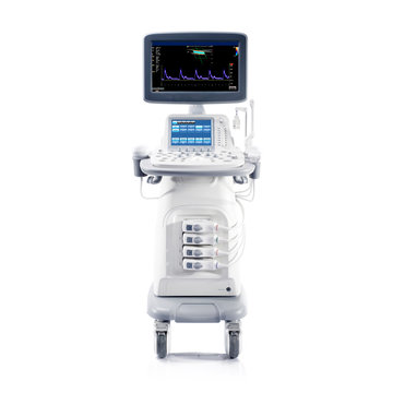 Ultrasound Machine Isolated on White Background. Medical Device. Ultrasonography Machine. Medical Diagnostic Equipment. Hospital Equipment. Clipping Path