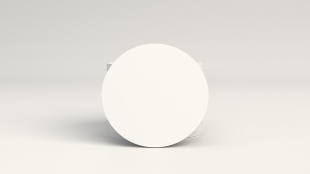 Mockup of blank white round beer coasters
