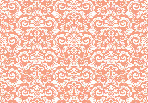 Floral pattern. Vintage wallpaper in the Baroque style. Seamless vector background. White and pink ornament for fabric, wallpaper, packaging. Ornate Damask flower ornament