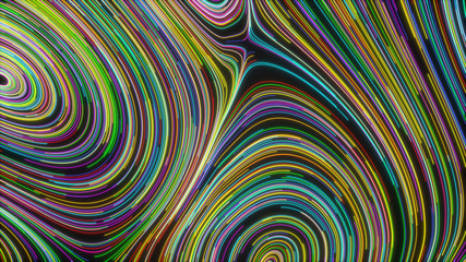 Smooth curles from colorful glowing strings on black background