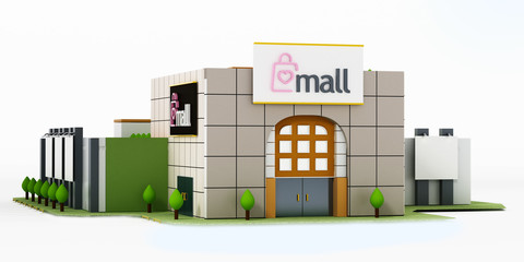 Generic shopping mall building isolated on white background. 3D illustration