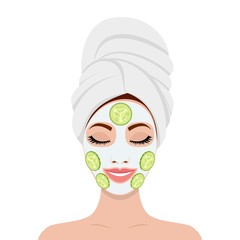 beautiful woman with facial mask of cucumber slices on face. SPA beauty and health concept. Vector illustration in flat style