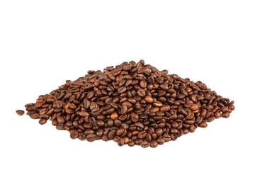 Grains of roasted coffee on white background.