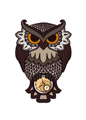 owl with a clock
