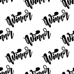 Seamless pattern with lettering Winner. Vector typography, hand lettering calligraphy
