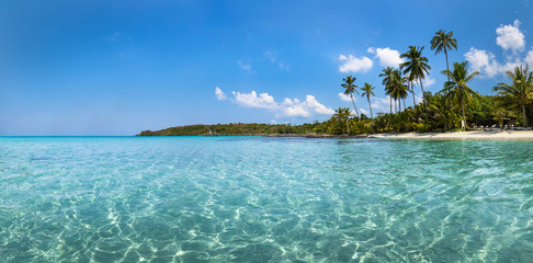 Beach vacation holidays landscape panorama of tropical paradise island with turquoise blue transparent sea water, pristine coast, panoramic view, travel destination