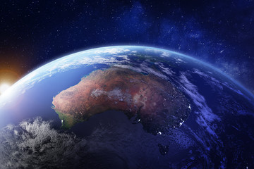 Australia from space at night with city lights of Sydney, Melbourne and Brisbane, view of Oceania, Australian desert, communication technology, 3d render of planet Earth, elements from NASA Wall mural