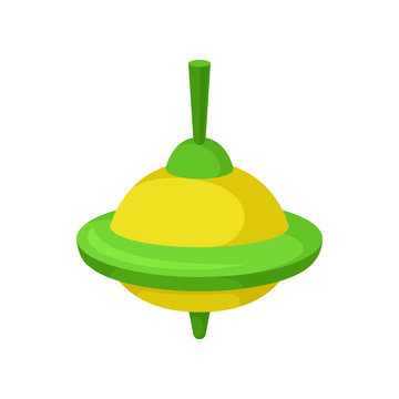 Flat vector icon of bright yellow-green whirligig. Children toy. Vintage spinning top. Item for kids game