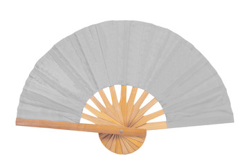 Red oriental hand Fan Isolated on White Background.